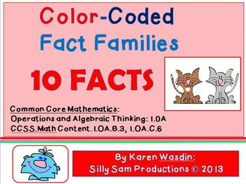 Fact Families 10 FACTS Common Core Color Coded