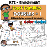 Fact Families Doubles + 1 Common Core Color Coded
