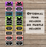 Color Coded Mouse Ears Inspired EDITABLE Behavior Clip Chart
