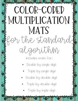 Color Coded Multiplication Mats