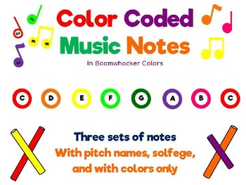 Color Coded Music Notation in Boomwhacker Colors-Pitch, Solfege, and Colors Only