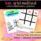 Least Common Multiple using the Grid Method: Color-Coded Notes & Practice