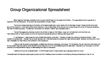 Color Coded Organizational Grouping Chart
