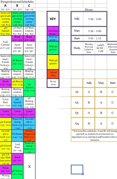Color Coded Paraprofessional Schedule