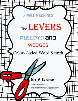 Color-Coded Simple Machines Word Search (levers, pulleys and wedges)