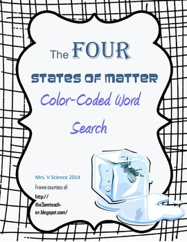 Color-Coded FOUR States of Matter Word Search (PDF)