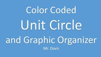 Color Coded Unit Circle and Graphic Organizer
