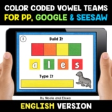 Color Coded Vowel Teams Word Work for Google and Seesaw -