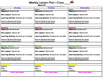 Color-Coded Weekly Lesson Plan Template
