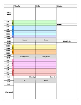 Color Coded Weekly Planner