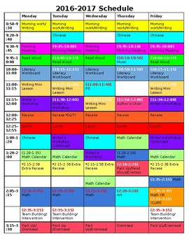 Color-Coded Weekly Schedule