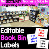 Editable Classroom Library Book Bin Labels: Color Coded