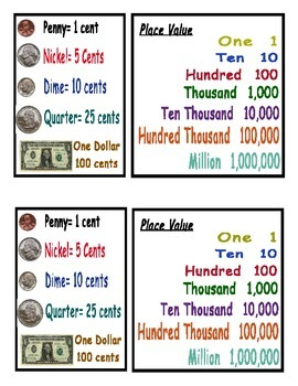 Color-CodedNumber Grid to 100 with Place value and Money