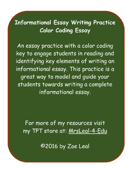 Color Coding Informational Essay