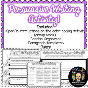 Color Coding: Persuasive Writing Activity!