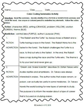 Color Coding Summary Activity