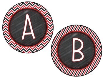 Color Combos Collection: Black & Red Complete Classroom Word Wall Set -Editable