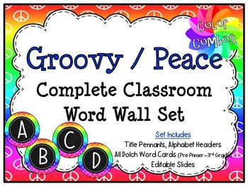 Color Combos Collection: Groovy / Peace Themed Complete Word Wall Set -Editable