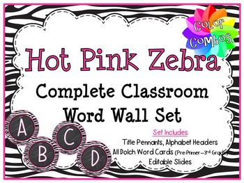 Color Combos Collection: Hot Pink Zebra Complete Word Wall