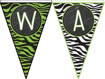Color Combos Collection: Lime Green  Zebra Complete Word Wall Set -Editable