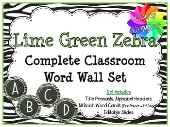 Color Combos Collection: Lime Green  Zebra Complete Word W