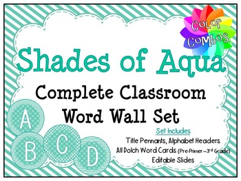 Color Combos Collection: Shades of Aqua Complete Classroom Word Wall -Editable