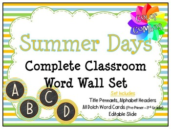Color Combos Collection: Summer Day Classroom Complete Word Wall Set -Editable