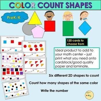 Shapes 2D Shapes - Color Count 2D Shapes Activity - PreK/K