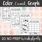 Color, Count, Graph: 20 Year-Round Worksheets   No Prep