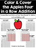 Color & Cover the Apples Four in a Row Addition
