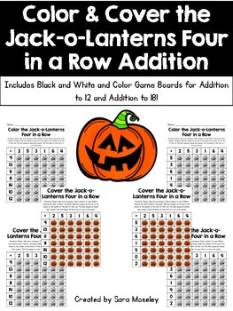 Color & Cover the Jack-o-Lanterns Four in a Row Addition