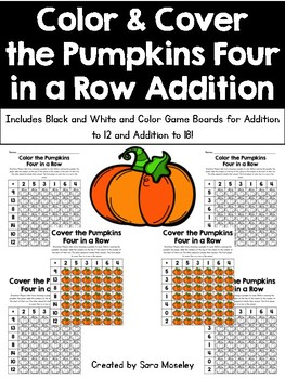 Color & Cover the Pumpkins Four in a Row Addition