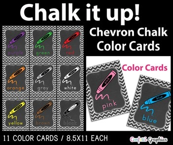 Color Crayon Line Cards Posters Signs Chalkboard Chevron Chalk Word Wall