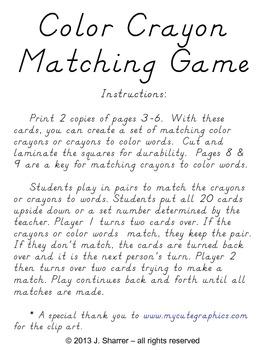 Color Crayon Matching Game