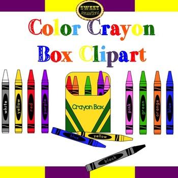 Color Crayons and Crayon Box clipart