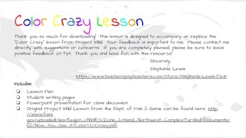 Color Crazy Science/ELA lesson & Slide Show (Project Wild Accompaniment)