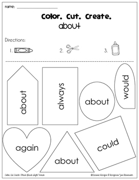 Color. Cut. Create.: Third Grade Dolch Sight Words