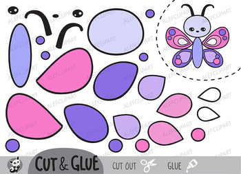 Color, Cut & Glue , Butterfly, Jpeg and Png