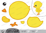 Color, Cut & Glue ,Chick, Jpeg and Png
