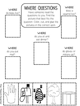 Color, Cut, Glue WH- Question Worksheets