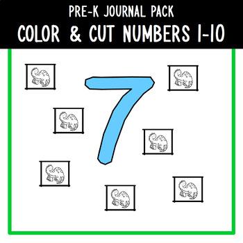PreK Journal Pack - Color & Cut Numbers 1-10