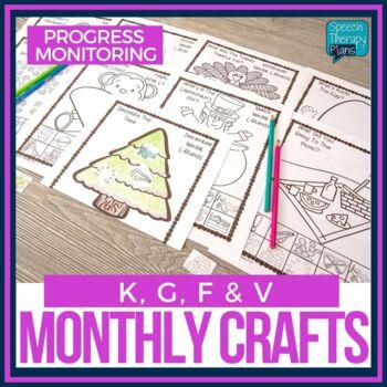 No Prep Articulation Crafts for the Year & Progress Monitoring (K, G, F, V)