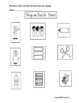 Color, Cut, Paste and Sort Items At School A Sorting Activity