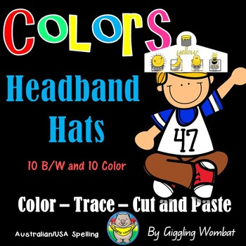 Color Cut Paste and Trace Headband Hats