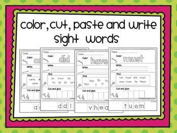 Color, Cut, Paste and Write Sight Word Sheets- 53 Words