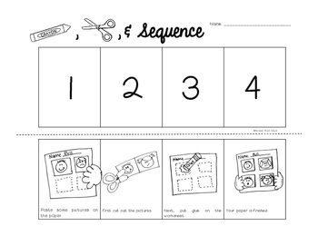 Color, Cut, & Sequence: 4 part sequencing worksheets