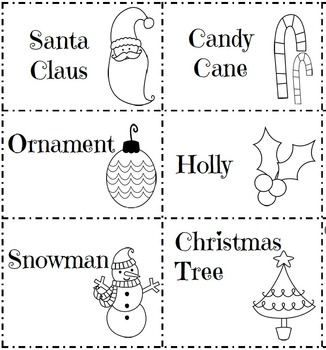 Color, Cut, Sort, and Glue Christmas Graphing and Vocabulary Cards