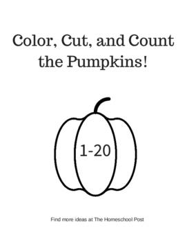 Color, Cut, and Count the Pumpkins 1-20