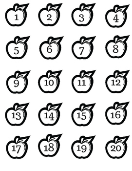 Color, Cut, and Count the Apples 1-20