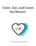 Color, Cut, and Count the Hearts 1-20
